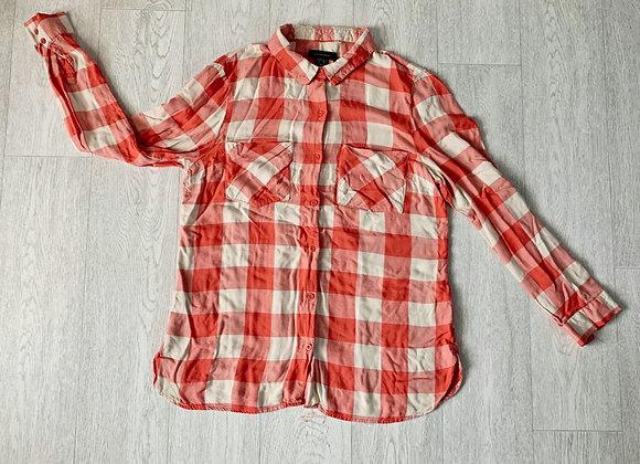 🐢ATMOSPHERE peach check shirt. Size 12