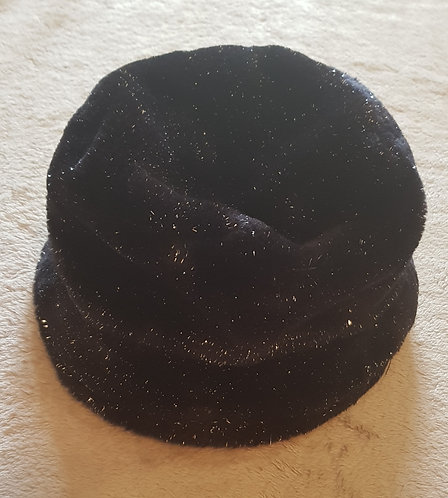 MARKS AND SPENCER Black winter hat with silver stitching throughout. 7-14yrs