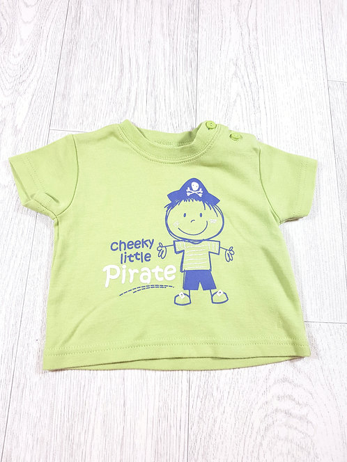 🌈M&Co baby boys green cheeky pirate t-shirt size 0 to 3 months