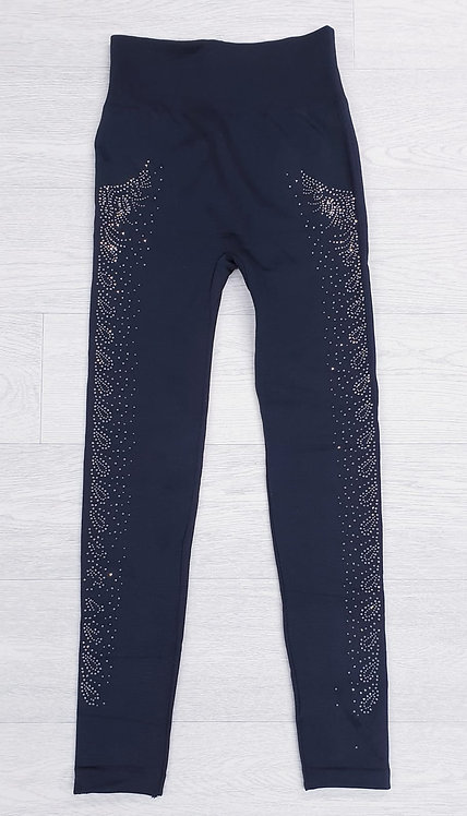 Thick black fleece lined leggings with diamante detail