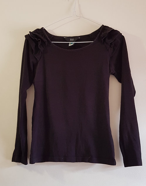 F&F Black long sleeve top with ruffled shoulders. Fairtrade cotton. Size 8