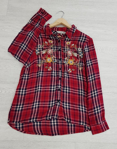 🦄F&F red tartan shirt with floral embroidery and bead detail size 14 (NWT)