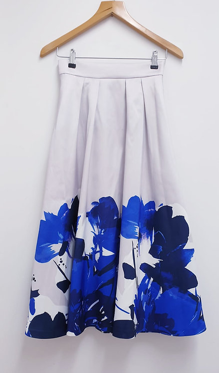 ⚪Coast off white skirt with floral hem. Size 8