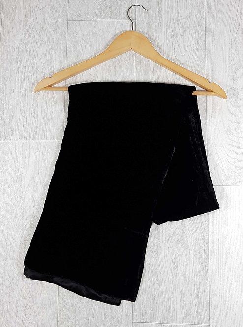 ◾Large wide black velvet scarf. Satin style inside layer.
