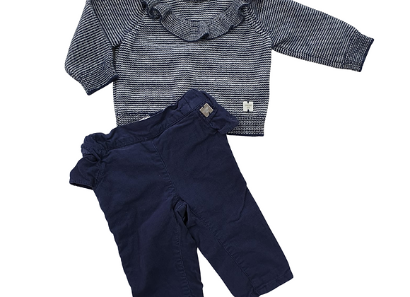 Carrement Beau navy frilly sweater & trousers set. 6m