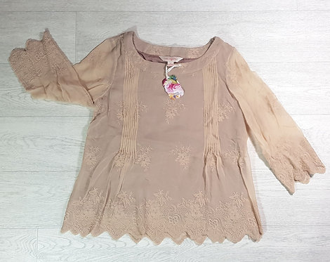 April Cornell beige beige lined top. Size Small