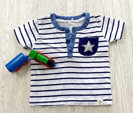 Billie Faiers white t-shirt with stripes. 6-9m