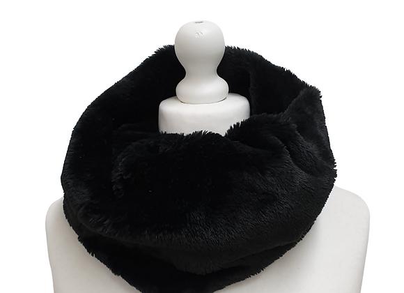 Black faux fur snood scarf