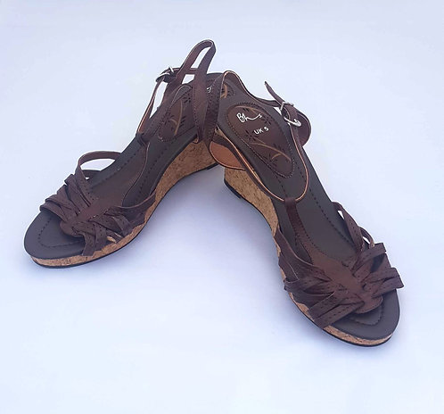 BHS brown wedge sandals. Size 5