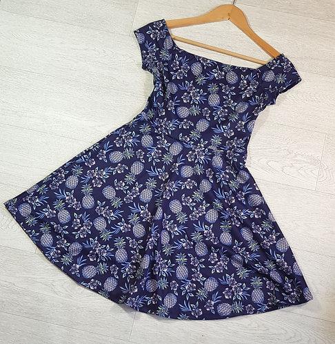 New Look blue pineapple dress. Size 8