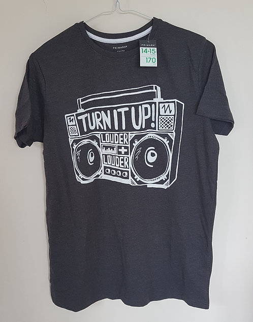 PRIMARK. Grey short sleeve top. New with tags. Size 14-15 years.