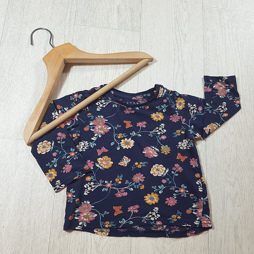 🌈Nutmeg girls Navy floral long sleeve top size 2 / 3 years