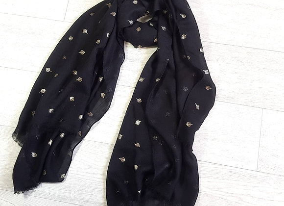 Charcoal with gold leaf scarf