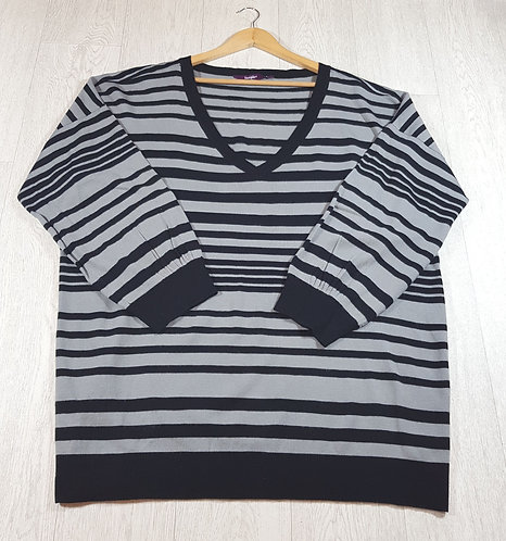 ✴New Look stripey grey and black jumper size 26