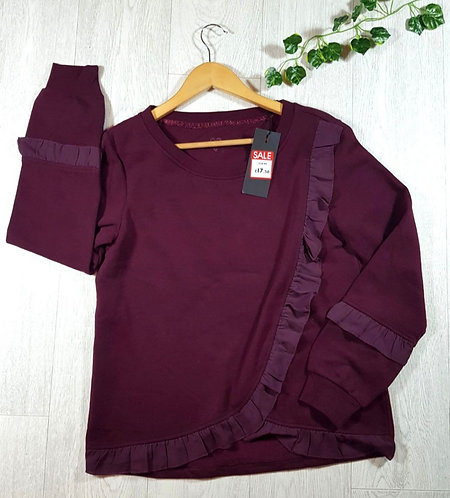 ONLY burgundy sweater with frills size M  (NWT)