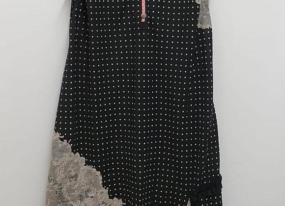 Mixed fabric black Dress