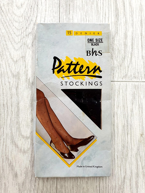 Bhs black pattern stockings. One size