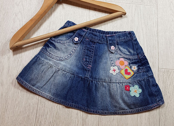 🌈Cherokee girls denim skirt with floral detail size 3-6 months