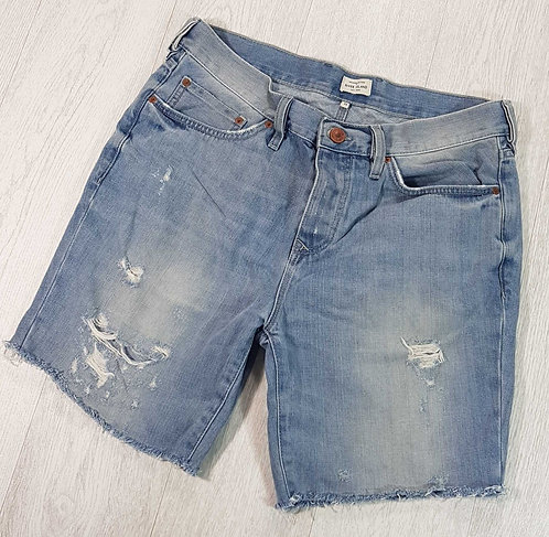 "River Island distressed denim shorts. 34""waist"