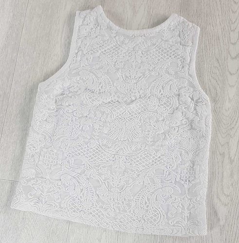 TopShop white embroidered cropped top. Size 8