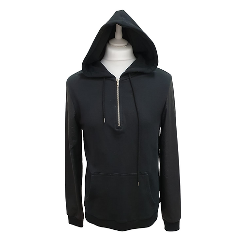 Asos black hoody with pleather sleeves. Size M