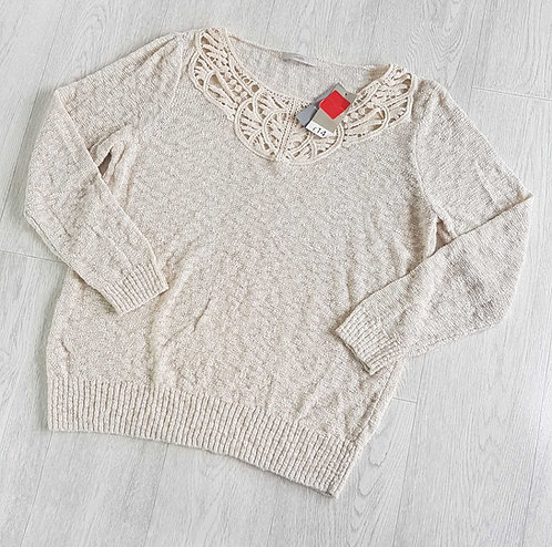GEORGE Cream knit sweater with crocheted neckline. Size 18