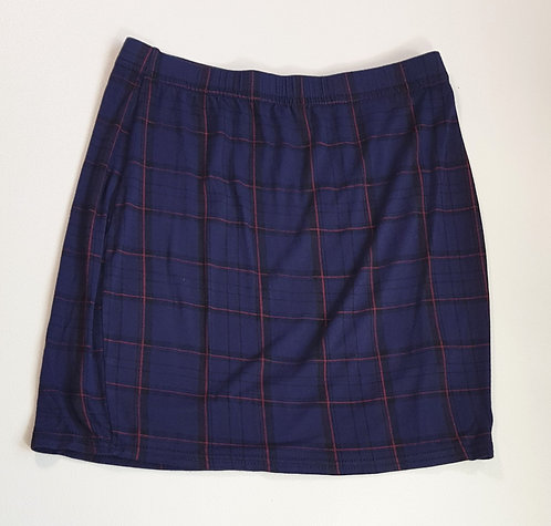 BooHoo navy check stretch mini skirt. Size 8