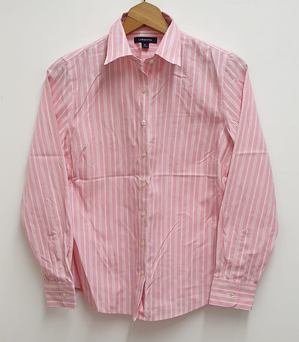 🏳Land's End pink striped shirt.