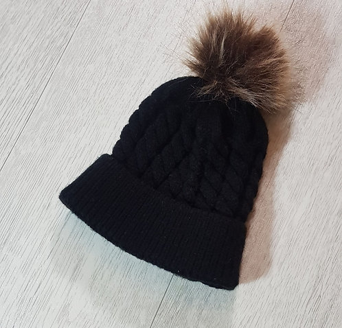 Black baby knit bobble hat. 0-6months