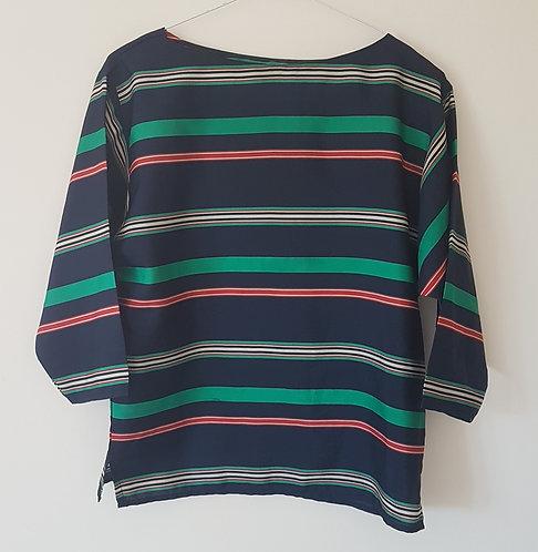 Lorraine Chase. Navy striped lightweight top. Size 12.