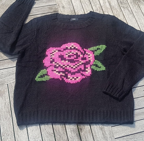F&F black rose knit sweater. Size 18 NWOT