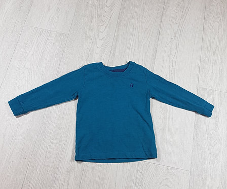 🐠Matalan long-sleeve turquoise top with earphone embroidery detail size 12-18m