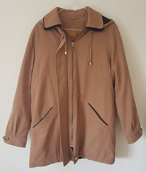 DAVID BARRY. Beige soft, padded coat with hood. Size 14.
