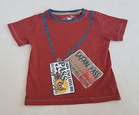TU. Burgundy short sleeve top. Size 12-18 months. Keep away from fire.