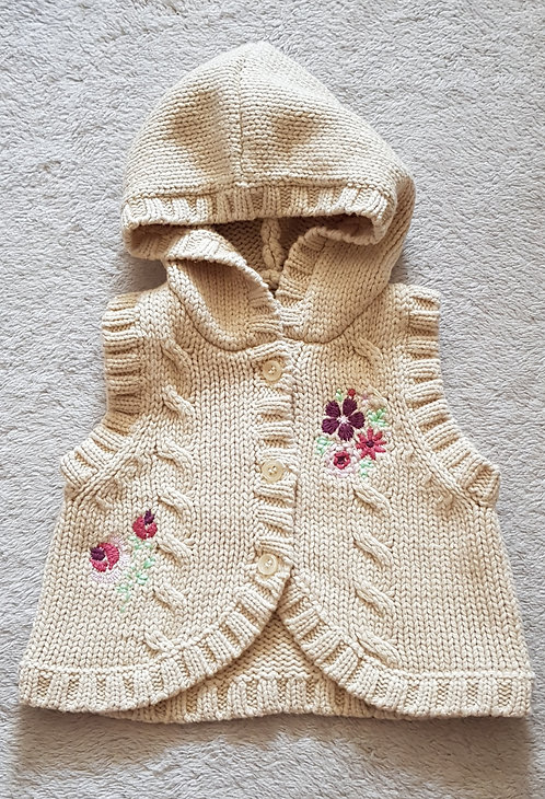 George. Beige knit waistcoat with hood. First Size. 9lbs.