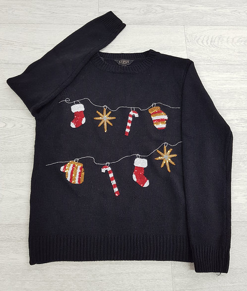 🦄Lipsy London black jumper with sequin candy canes and stockings size 14