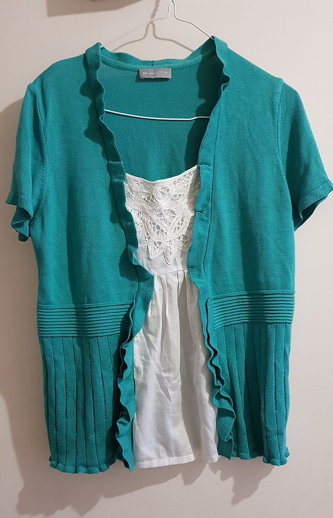 Marks and Spenser Turquoise Green knit outer layer and White blouse. Size 14.