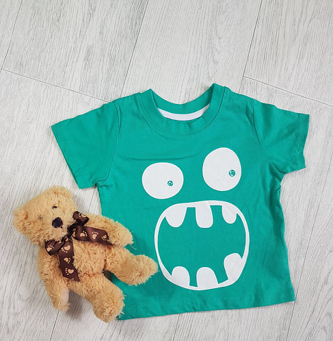 🔶️Primark boys' green monster t-shirt size 9-12 months (NWOT)