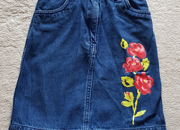 ADAMS 90's Denim skirt with rose print to front and back. 100% cotton 6yrs 116cm