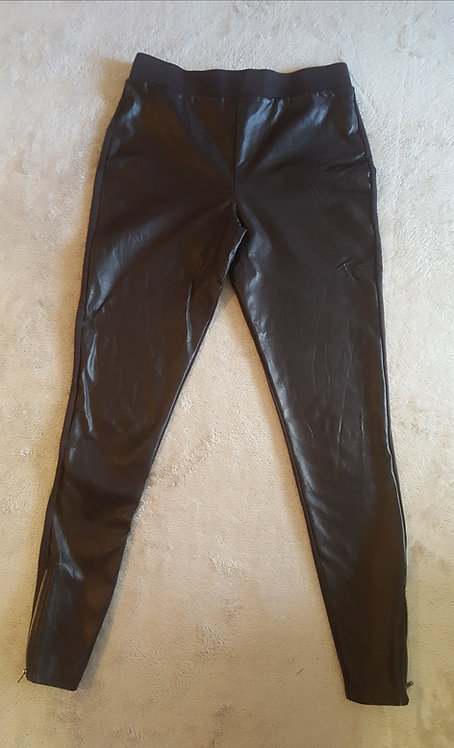 Next. Brown leggings with soft faux leather front. Zip ankles. Size 8.