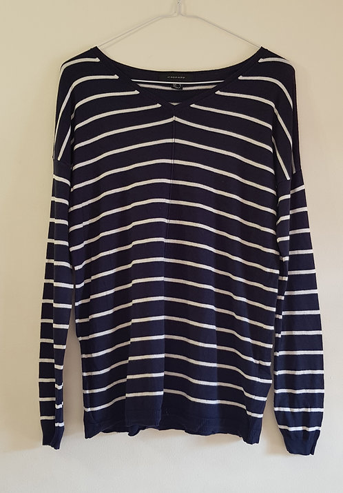 ATMOSPHERE Navy striped v neck sweater uk 8