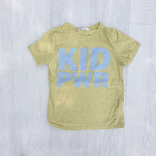 🐦H&M yellow marl Kid Power T-shirt.