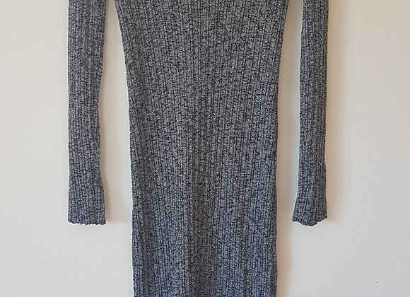 ASOS. Grey long sleeve knitted, v neck dress with slit in the front.