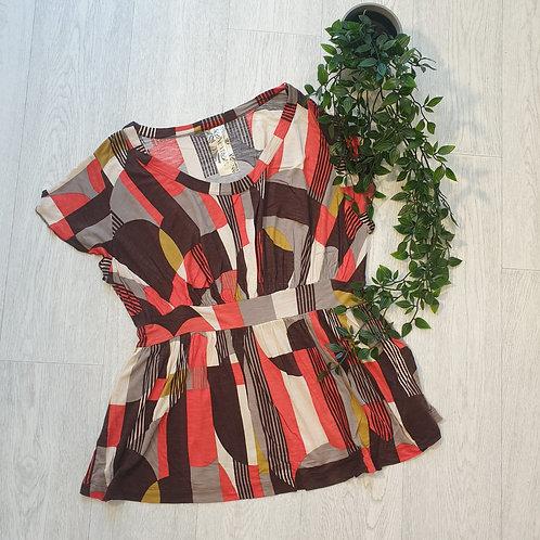 🌸Next brown/orange print top. Size 16