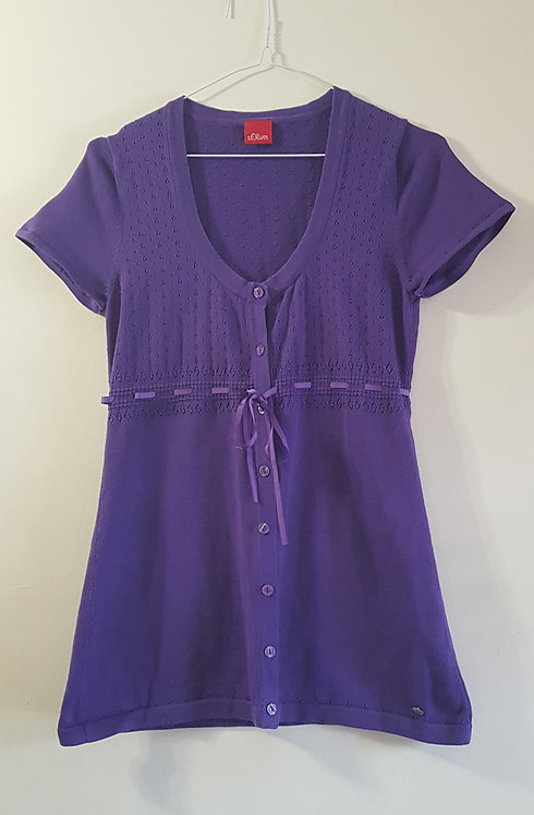 S. Oliver. Purple knit top with button up front. Size 10.