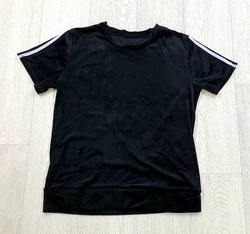 Black velour t-shirt.