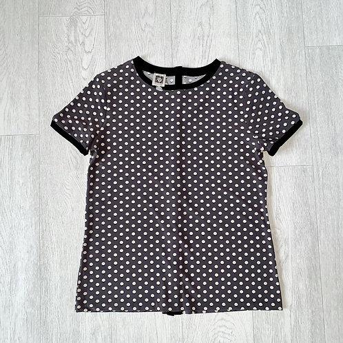 Anne Klein grey spotty button up back t-shirt. Size S