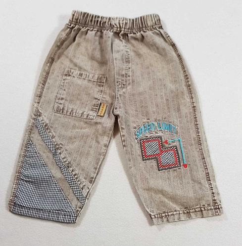 ◾Brown distressed textured jeans. 18-24m