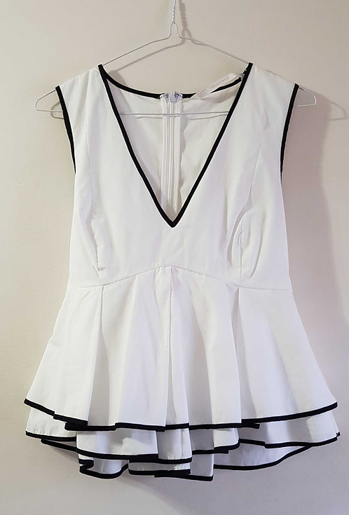 ZARA White low cut top with black trim and back tie ribbon.  Size S