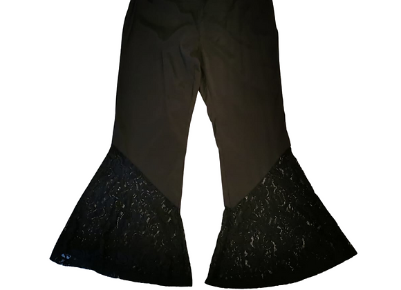 Black lace flare trousers. Size 3XL